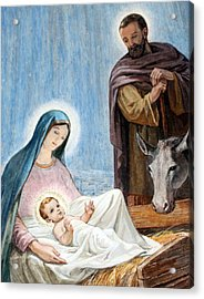 Nativity Story At Shepherds Fields Acrylic Print by Munir Alawi