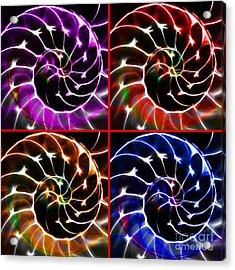 Nautilus Shell Ying And Yang - Electric - V1 - Four Squares Acrylic Print by Wingsdomain Art and Photography