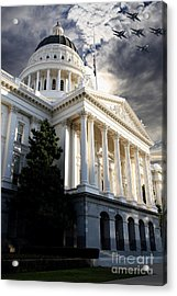 Navy Blue Angels Flying Over The California State Capitol . 7d11771 Acrylic Print by Wingsdomain Art and Photography