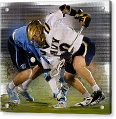 College Lacrosse Faceoff 6 Acrylic Print by Scott Melby