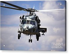 Navy Pilots In A Sh-60f Seahawk Conduct Acrylic Print by Michael Wood