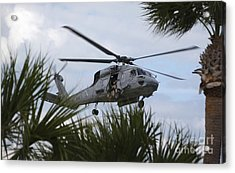 Navy Seals Look Out The Helicopter Door Acrylic Print