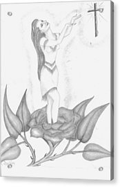 Ndn Flower Girl Acrylic Print by Janie Gill