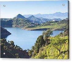 Near Almogia, Spain. Casasola Reservoir. Acrylic Print by Ken Welsh