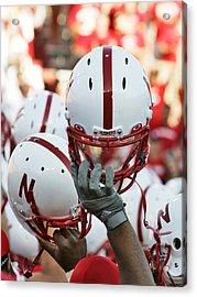 Nebraska Football Helmets  Acrylic Print by University of Nebraska
