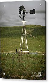 Nebraska Windmill-stormy Day Acrylic Print by Michael Flood