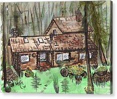 Neighbors Cabin Montana Acrylic Print by Windy Mountain