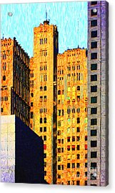 Neo-gothic Pacbell Building In San Francisco Acrylic Print by Wingsdomain Art and Photography