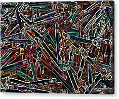 Neon Crayons Acrylic Print by Bernadette Kazmarski