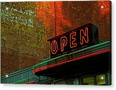 Neon Open Sign On Old Diner Hotel Acrylic Print by Matt Champlin