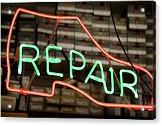 Neon Shoe Repair Sign Acrylic Print by Frederick Bass