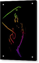 Neon Shower Girl Acrylic Print by Steve K