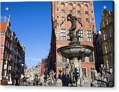 Neptune Fountain In Gdansk Acrylic Print by Artur Bogacki
