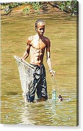 Netfishing Acrylic Print by Gregory Jules