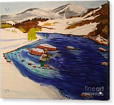 New Hampshire Springtime - Skiing And Trout Fishing In The White Mountains Acrylic Print by Bill Hubbard