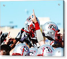 New Mexico Football Huddle Acrylic Print by University of New Mexico Athletics