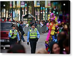 Acrylic Print featuring the photograph New Orleans Police At Mardi Gras by Jim Albritton