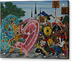 ''new Orleans Secondline'' Acrylic Print by Mccormick  Arts