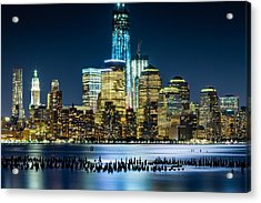 New Wtc And Remains Of Old Pier Acrylic Print