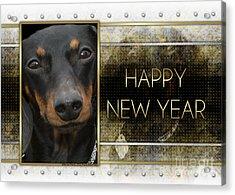 New Year - Golden Elegance Dachshund Acrylic Print by Renae Laughner