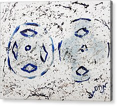 Acrylic Print featuring the painting New Year Rolls Around With Abstracted Splatters In Blue Silver White Representing Snow Excitement by M Zimmerman