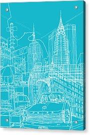 New York Blue Print Acrylic Print by David Bushell