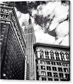 New York City - Empire State Building And Clouds Acrylic Print by Vivienne Gucwa