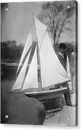 New York City, Man With Toy Yacht Acrylic Print by Everett