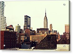 New York City Rooftops And The Empire State Building Acrylic Print by Vivienne Gucwa