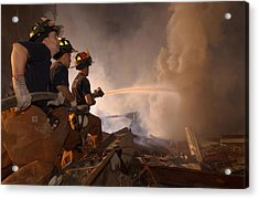 New York Firefighters Continue Acrylic Print by Everett