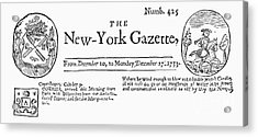 New York Gazette, 1733 Acrylic Print by Granger