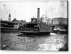 New York Harbour Steamship Whitehall Leaving Port A Summers Day In 1904 Acrylic Print by Finn Trygvason Klingenberg