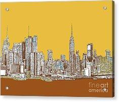 New York Mustard Sepia Acrylic Print by Building  Art