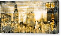 New York Vintage Style Acrylic Print by Frank Waechter