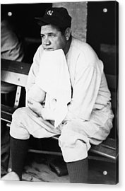 New York Yankees. Outfielder Babe Ruth Acrylic Print by Everett