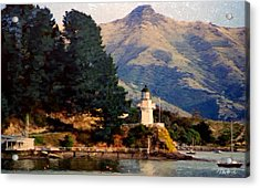 New Zealand Series - Akaroa Lighthouse Acrylic Print by Jim Pavelle