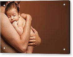Newborn Baby Sleeping On The Shoulder Of His Father The Over Brown Background Acrylic Print by Pavlo Kolotenko