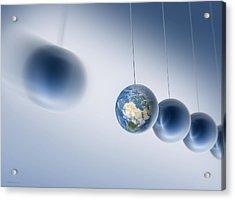 Newtonian Earth, Conceptual Artwork Acrylic Print by Detlev Van Ravenswaay
