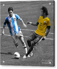 Neymar And Lionel Messi Clash Of The Titans Black And White Acrylic Print by Lee Dos Santos