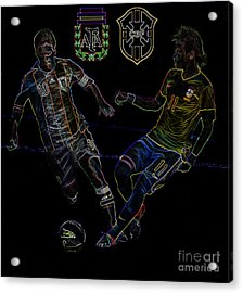 Neymar And Lionel Messi Clash Of The Titans Neon Acrylic Print by Lee Dos Santos