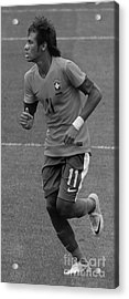 Neymar Running Black And White Acrylic Print by Lee Dos Santos