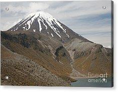 Ngauruhoe Cone And Upper Tama Lake Acrylic Print by Richard Roscoe