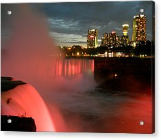 Niagara Falls At Night Acrylic Print by Mark J Seefeldt