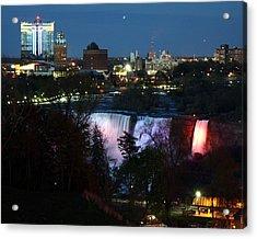 Niagara Falls Ny At Night Acrylic Print by David Gilman