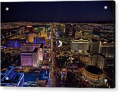 Night Aerial View Of The Las Vegas Acrylic Print by Everett