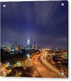 Night At  Kuala Lumpur Acrylic Print by Zackri Zim's Photography