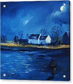 Night Fishing On The Forth Acrylic Print by Margaret Denholm