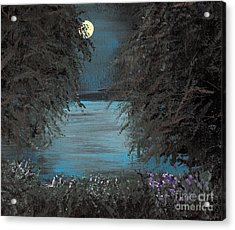 Acrylic Print featuring the painting Night In The Bayou by Alys Caviness-Gober