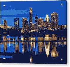 Night Skyline Color 6 Acrylic Print by Scott Kelley