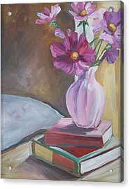 Night Stand With Flowers And Books Acrylic Print by Michelle Grove